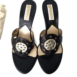 Michael Kors Slip on Sandals Black Gold Size 8